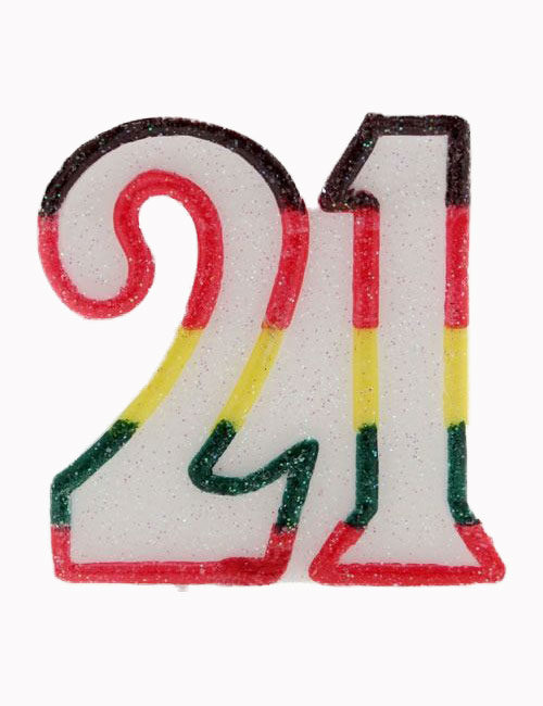 Multi Number 21 Candle