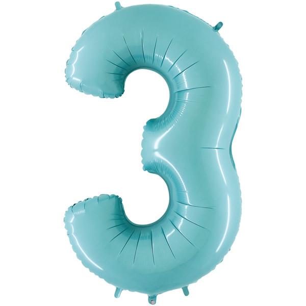 40 U0026quot  Number 3 Pastel Blue Foil Balloon