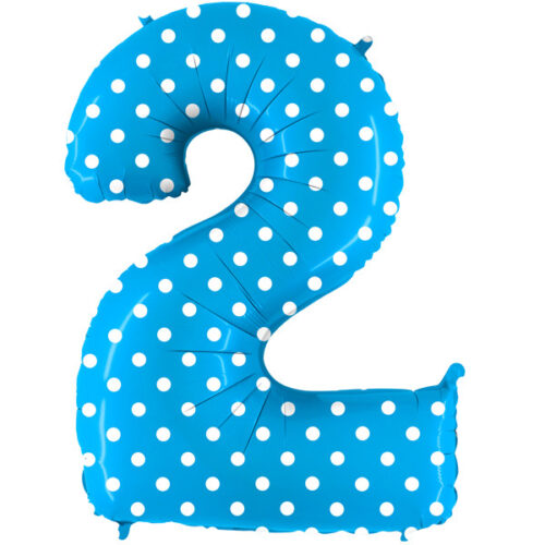 pois turquoise-number-2 foil balloon