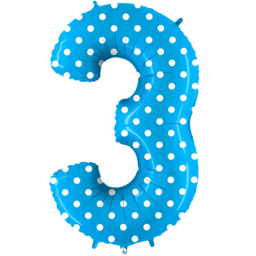 pois-turquoise-number-3 foil balloon