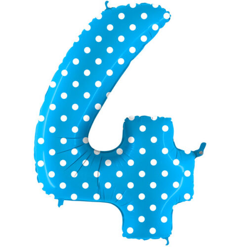 pois-turquoise-number-4 Foil Balloon
