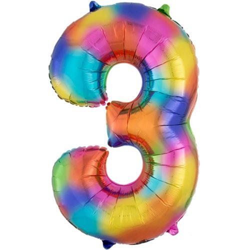 rainbow-splash-number-3 Foil Balloon