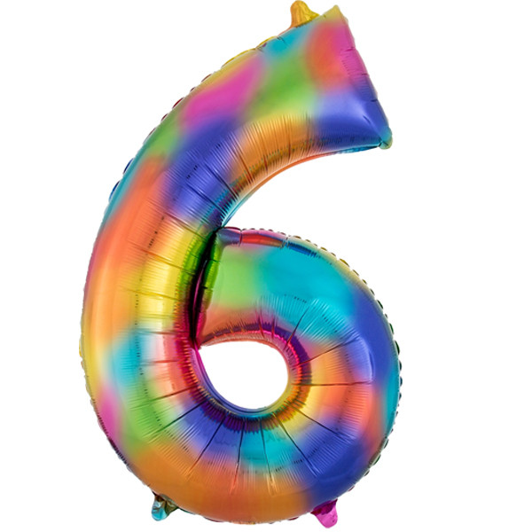 rainbow-splash-number-6-Foil Balloon