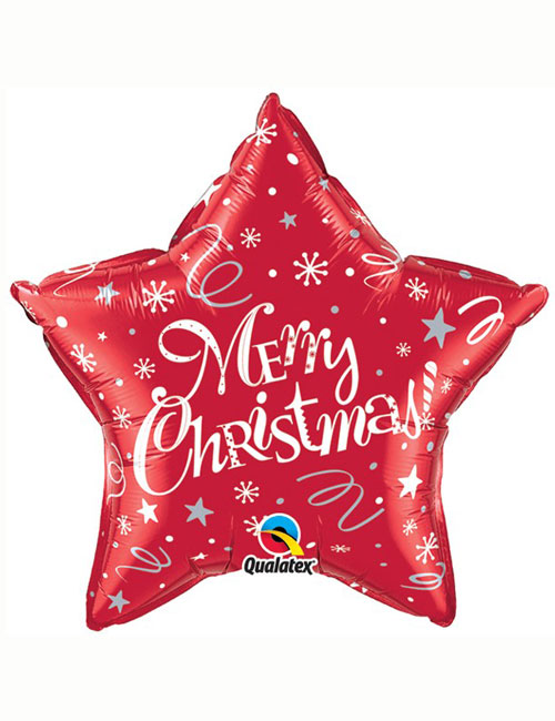 Merry Christmas Star Red Balloon
