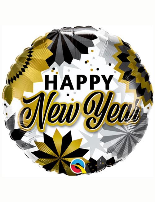 Balck Gold Fans Happy New Year Balloon