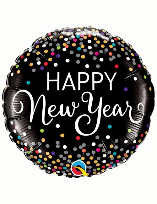 Coloured Dots Happy New Year Balloon