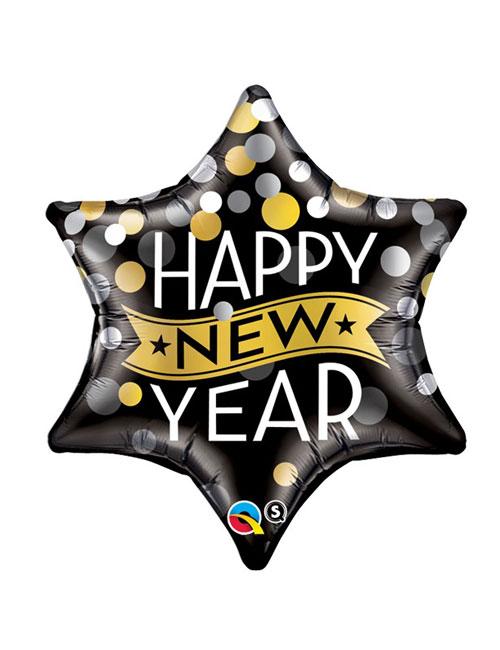 Confetti Star Happy New Years Balloon
