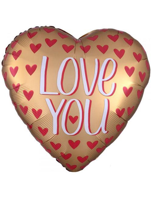 Gold Satin Love You Balloon