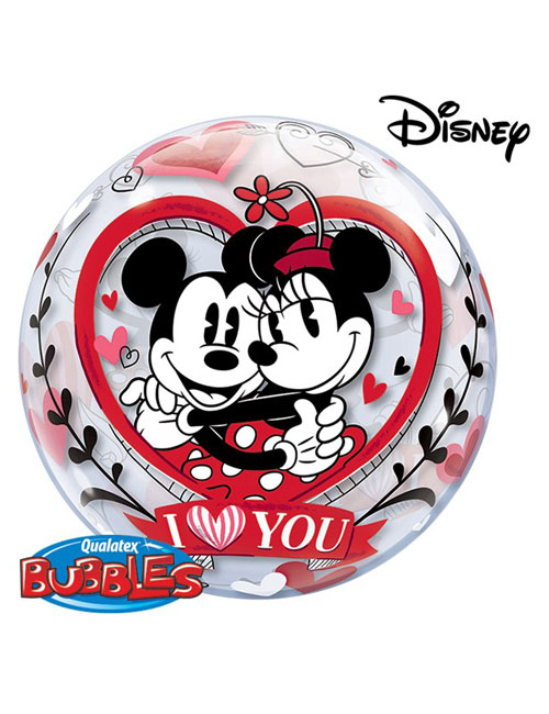 Minnie and Mickey Love You Bubble Balloon