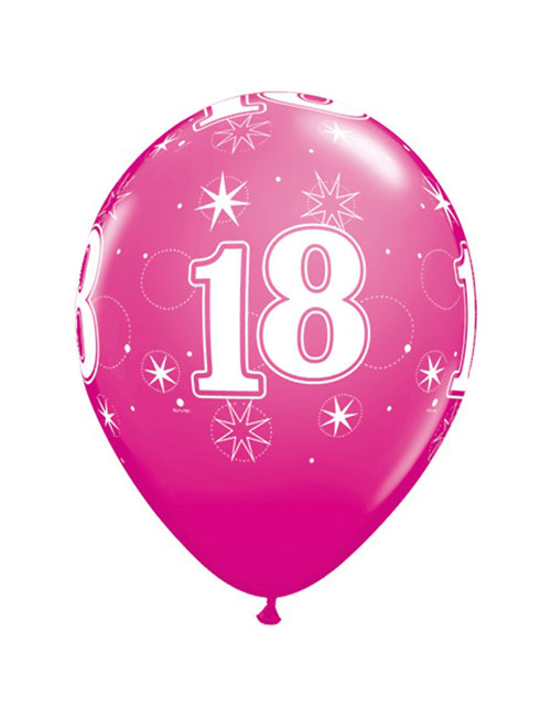 11 inch Latex Age 18 Pink Balloon