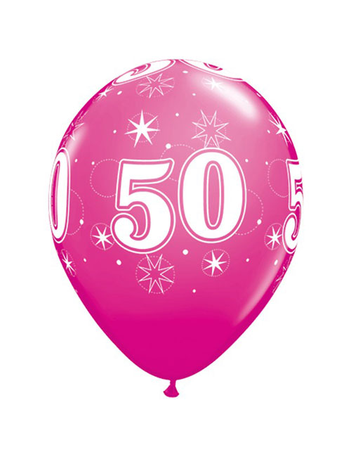 11 inch Latex Age 50 Pink Balloon