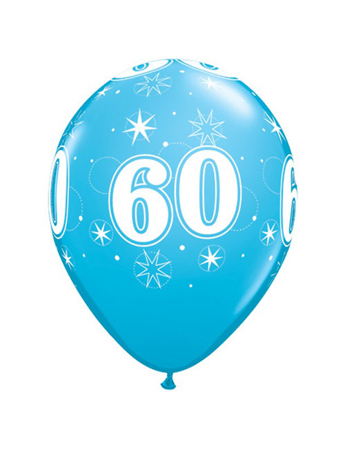 11 inch Latex Age 60 Blue Balloon