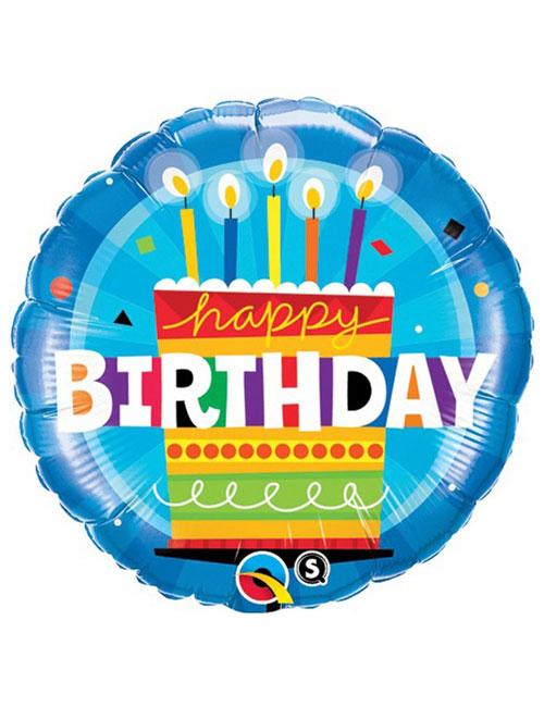 18 inch Birthday Cake Blue Balloon
