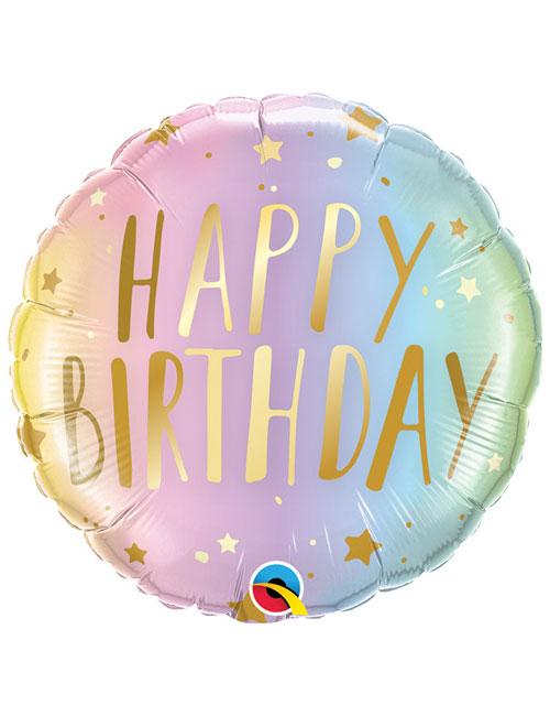 18 inch Ombre Pastel Stars Birthday Balloon
