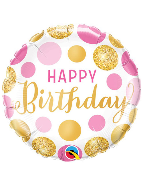 18 inch Pink & Gold Dots Birthday