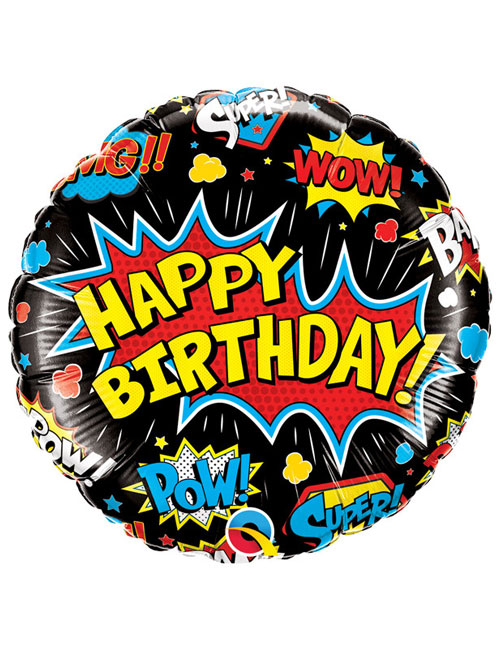 18 inch Super Hero Black Birthday