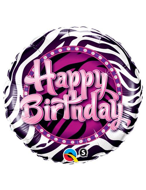 18 inch Zebra Print Birthday Balloon