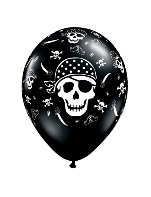 11 inch Shull and Crossbones Latex Balloons