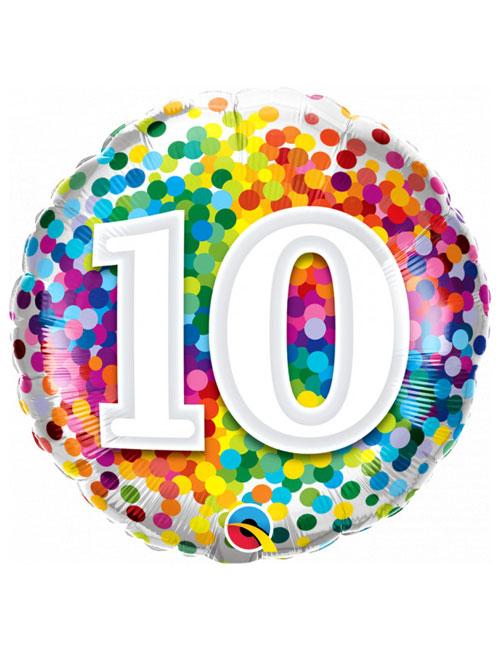 18 inch Rainbow Confetti 10th Birthday Balloon