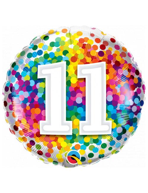 18 inch Rainbow Confetti 11th Birthday Balloon