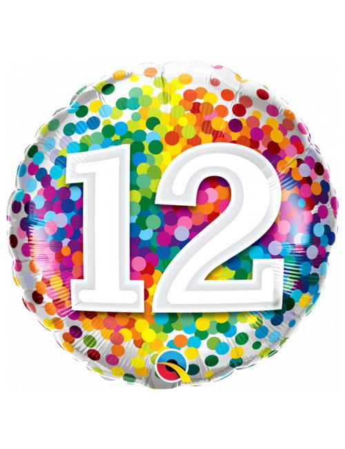 18 inch Rainbow Confetti 12th Birthday Balloon