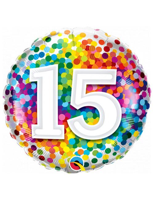 18 inch Rainbow Confetti 15th Birthday Balloon