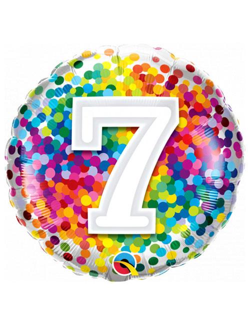 18 inch Rainbow Confetti 7th Birthday Balloon