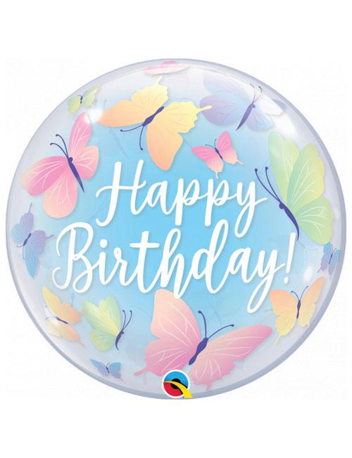 22 inch Bubble Soft Butterflies Birthday Balloon