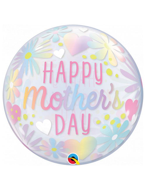 22 inch Pink Pastel Mothers Day Bubble Balloon
