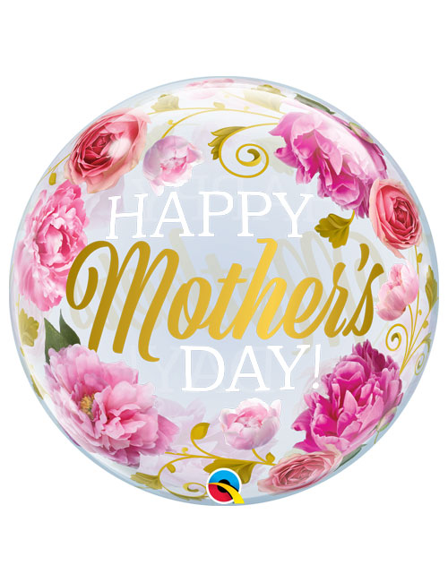 22 inch Pink Peonies Happy Mothers Day Bubble Balloon