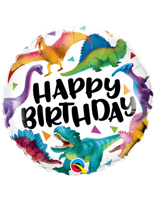 18 inch Happy Birthday Colourful Dinosaurs
