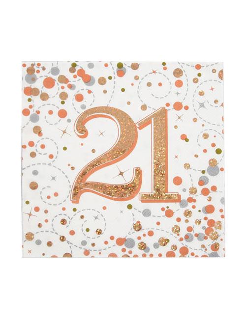 Rose Gold Fizz 18th Birthday Napkins