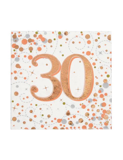 Rose Gold Fizz 30th Birthday Napkins