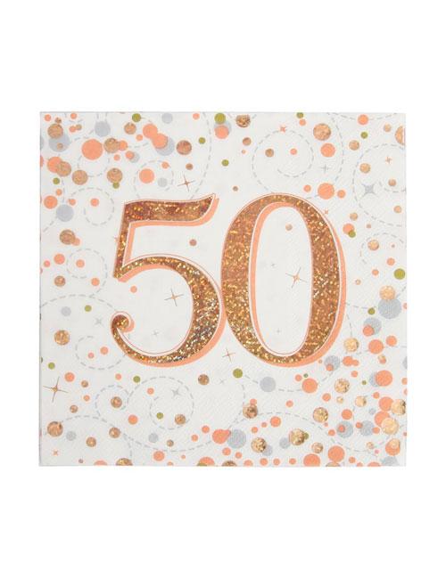 Rose Gold Fizz 50th Birthday Napkin