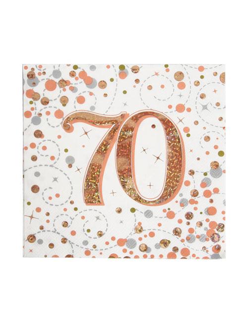 Rose Gold Fizz 70th Birthday Napkin
