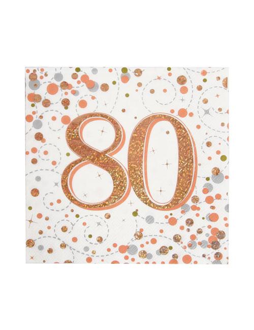 Rose Gold Fizz 80th Birthday Napkin