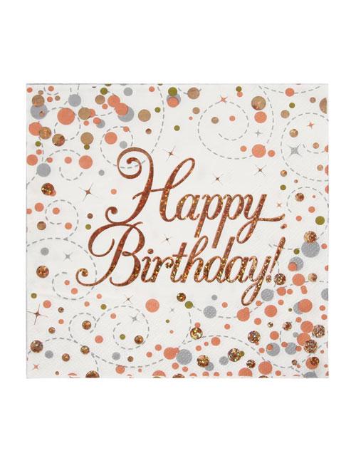 Rose Gold Napkins Happy Birthday